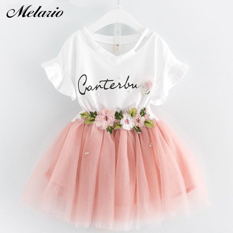 Girls Dress 2019 Brand Kids Pakaian Butterfly Sleeve Letter T-shirt + Floral Voile Dress 2Pcs for Clothing Set Children Dress