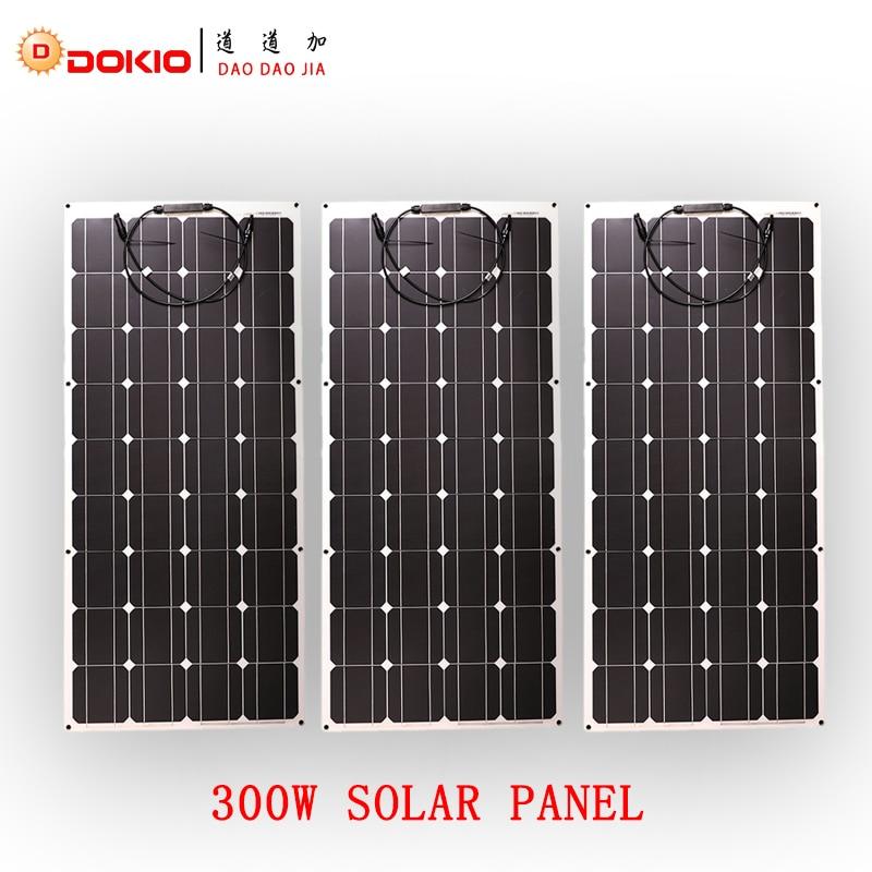 Dokio Brand 3pcs 100W Monocrysrystalline Solar Panel China 12V 24 Volt 300W Solar Panel For Car/Fishing Boat/Yacht Solar Cell