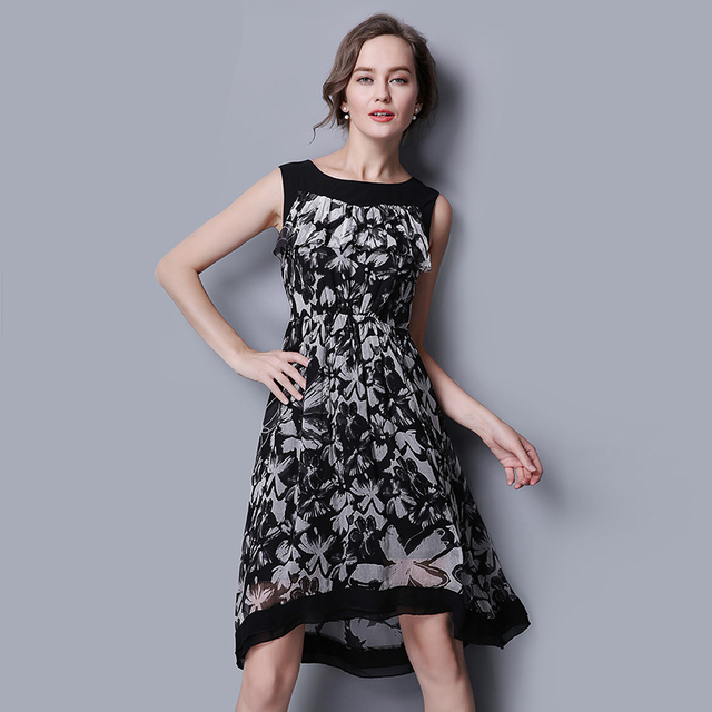 100% Silk Dress Classic Black Dress Women Summer Dress 2017 New Desigual  dress chiffon d6f44450ce0b
