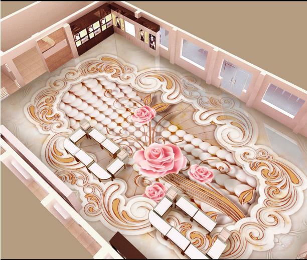ФОТО Cusromize 3d floor bathroom back flooring roll waterproof self-adhesive pvc plastic flooring