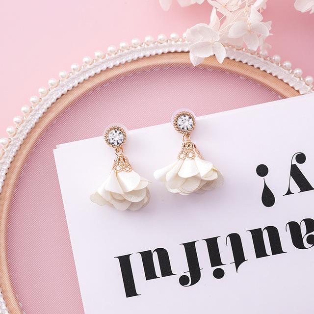 MENGJIQIAO 2018 Korean New Shiny Crystal Cloth Flower Drop Pendientes Mujer Moda Summer Accessories Cute Boucles D'oreilles  1