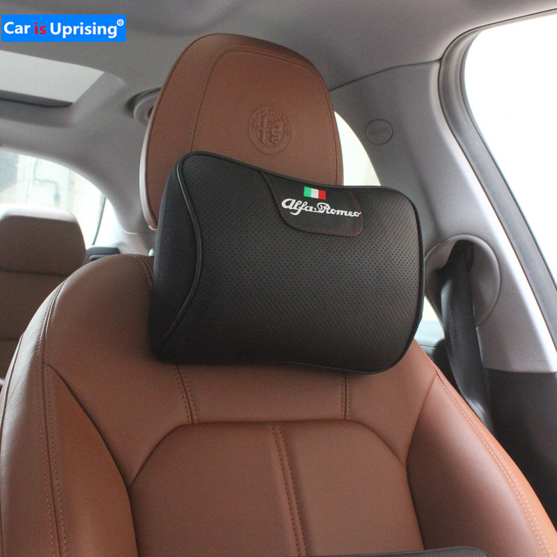 Leather Car Headrest Neck Support Back Lumbar Cushion for Alfa Romeo MiTo Giulietta Giulia Stelvio 4C