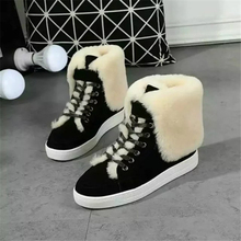 New Winter Zapatos Mujer Snow Boots Women Flat Heel Warm Fur Botas Mujer Botines Lace-up Ankle Boots Cotton Shoes Size EU 34-40
