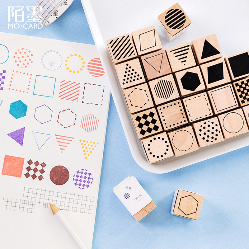 Geometric Lattice Basic Shape Wood Stamp DIY Wooden Rubber Stamps For Scrapbooking Stationery Scrapbooking Standard Stamp