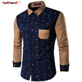 GustOmerD New Fashion Patchwork Men Shirt Skinny Long Sleeve Business Social Mens Dress Shirts Slim Fit Shirt Men Brand Clothes