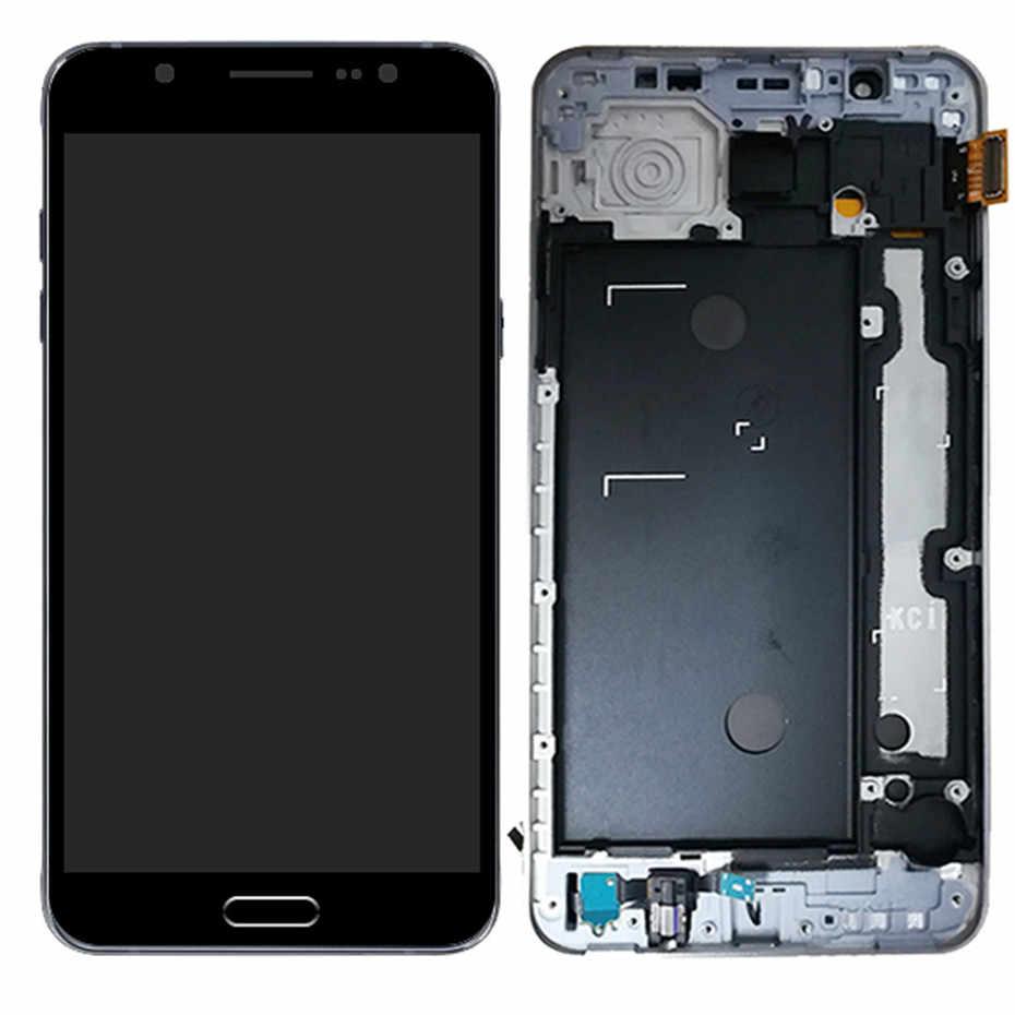 TFT LCD สำหรับ Samsung Galaxy J7 2016 J710 J710FN J710F J710M J710Y J710G J710H Touch Screen Digitizer บ้านปุ่ม