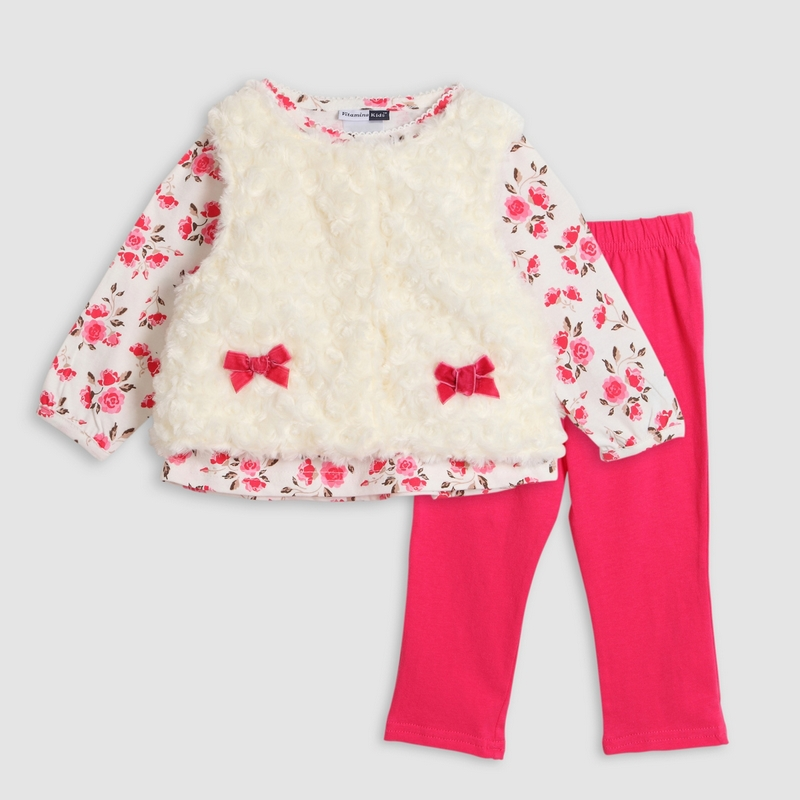 Spring Baby Girl sweet 3pcs Clothing Set Cotton Full Sleeve Floral T-shirt + Fur Velvet Waistcoat + Pants Leggings Suit Clothes
