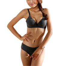 Sexy Women Bra Sets Lingerie Underwear Push-Up Padded Cotton Bra+Panties  Seamless Design c2b1155cb