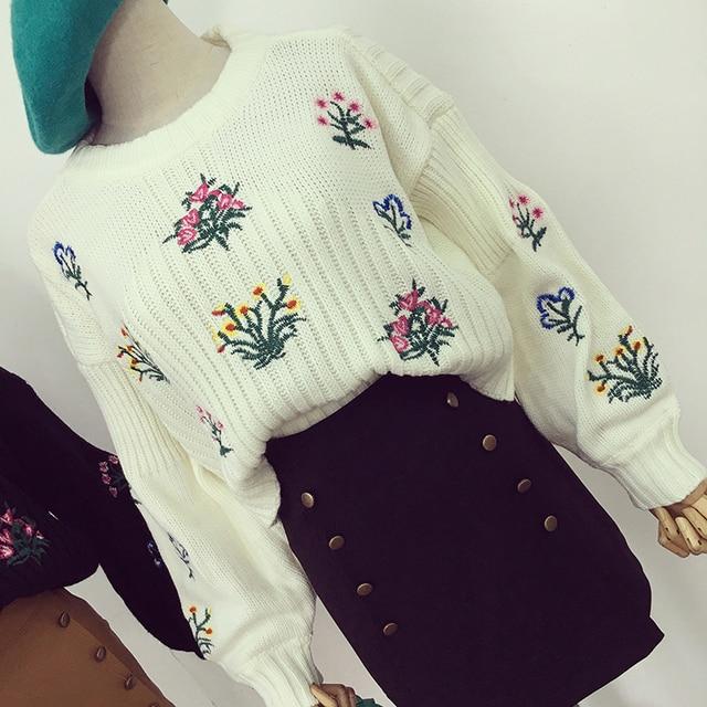 Обрезанные топ вязаный свитер женщины топы цветы вышивка kawaii перемычки потяните femme hiver chandail jerseis mujer зима