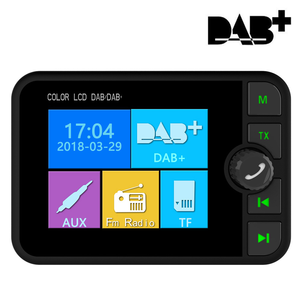 Car DAB Radio Receiver Colorful TFT Bluetooth FM Transmitter + MCX Antenna 3.5mm Jack Audio Output DAB Tuner Support TF Card-in Car Radios from Automobiles & Motorcycles    1