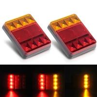 2PCs Pair Car Truck Rear Tail Lights 8 LED Waterproof 12V Super Bright Indicator Signal Reverse