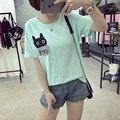 2017 summer harajuku bolsillo kawaii cat bordado camisetas para las mujeres suelta color puro encantador femenino t-shirt casual tops m-2xl