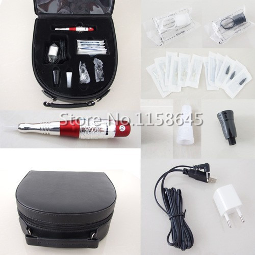 DHL High Quality Professional Permanent Makeup Kit Tattoo Machine Pen For Eyebrow Lips + Needles Tips Case Cosmetic Supply #j professional permanent makeup tattoo eyebrow pen machine 50 needles tips power supply set us plug drop shipping wholesale
