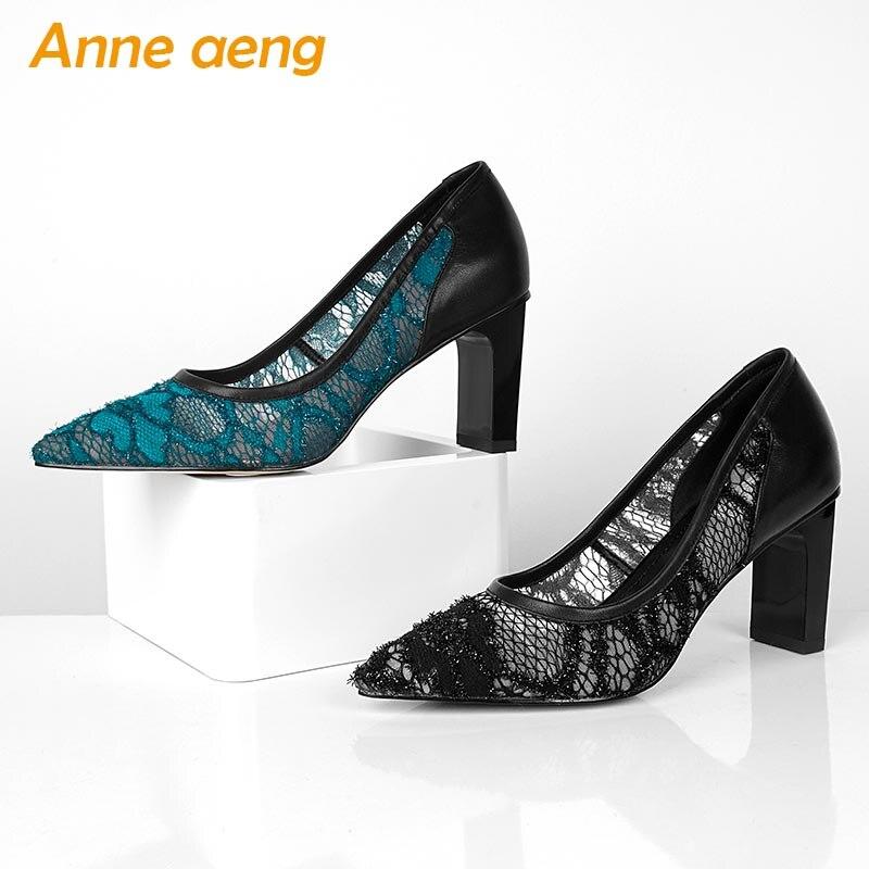 Spitz Ferse Blue Quadratische Heels Spitze Schuhe black Neue Sexy Flach 2019 Damen Mode Schwarz Frauen Echtem Leder Pumpt Hohe Yg8q0wTg