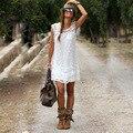 Vestido de verão 2016 Sexy Sem Mangas Casuais Praia Vestido Curto Tassel Sólidos Lace Branco Vestidos Plus Size Mulheres Roupas Vestido