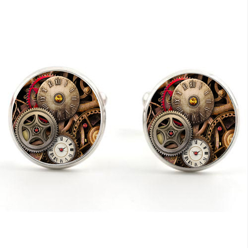 Vintage Watch Movement Cufflinks of immovable Lepton Glass Steampunk Gear retro Mechanism Cuff links for Men Apparel accessorie