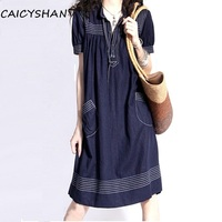 New Summer Style Vestido Women Dresses Plus Size Casual Loose Vintage Jeans Dress For Women Large Denim One Piece Freeshipping