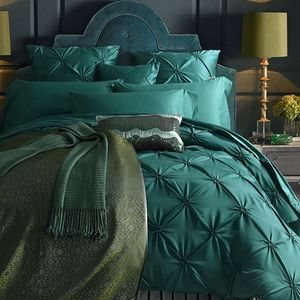 Green Imitated Silk Cotton Bedding Set Luxury 4/6Pce Handwork Pinch Pleat Bed Set King Queen Duvet Cover Bed Sheet Pillow cases