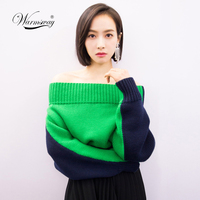 Sexy off shoulder split knitted cropped sweater women knitting pull femme ribbed hem Crop top winter Contrast pullover C 188