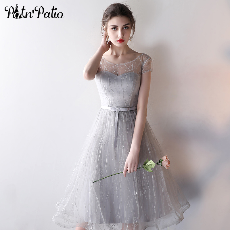 PotN'Patio Elegant Gray Short Bridesmaid Dresses 2017 New Lace Tulle Cap Sleeves Wedding Party Dress