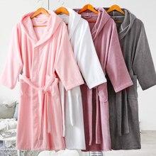 Womens Bathrobe Cotton Hooded Men Plush Long Sleeve Open Front Robes Christmas Robe Sleepwear Homewear Kimono robe White Winter stylish open front batwing sleeve fringed women s kimono