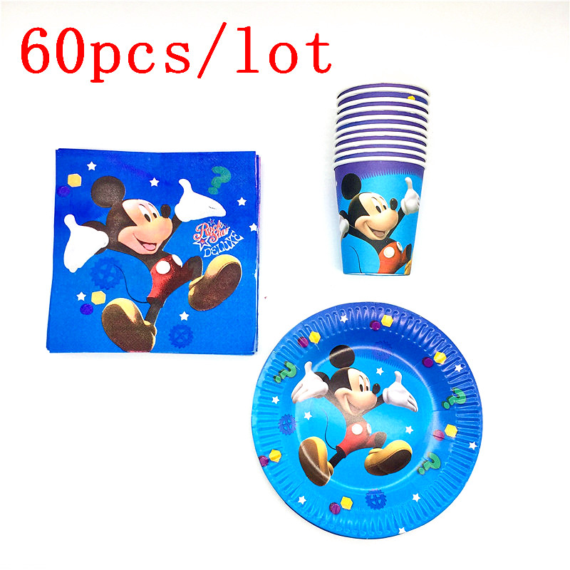 Mickey mouse Baby Shower Happy Decoration Boy Girl Paper Plates Party Cups Kids Favors Napkins Tablecloth Supplies 60pcs\lotMickey mouse Baby Shower Happy Decoration Boy Girl Paper Plates Party Cups Kids Favors Napkins Tablecloth Supplies 60pcs\lot