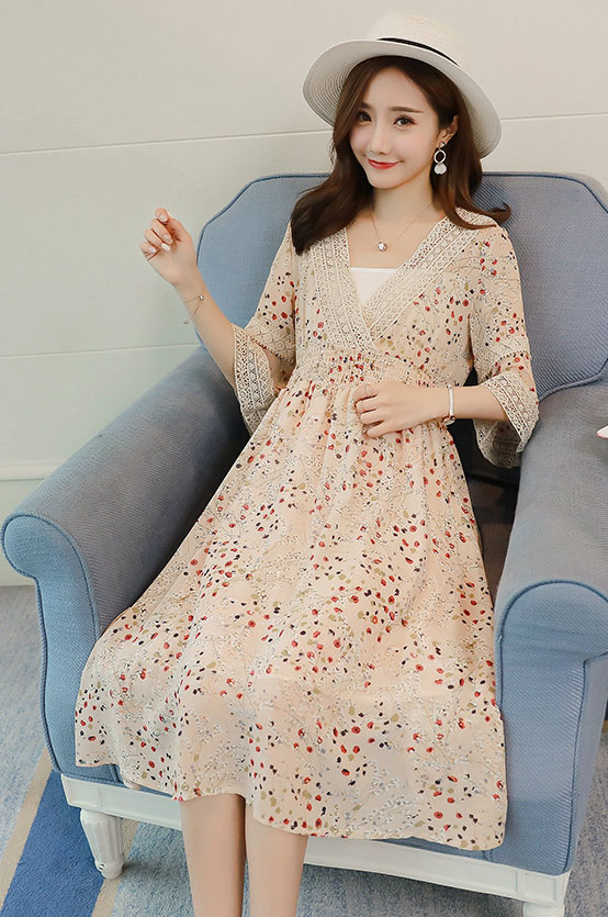 Summer dress, pregnant women with snow, spun flowers casual wear (Not including the white clothes inside), 1LDDS-88R