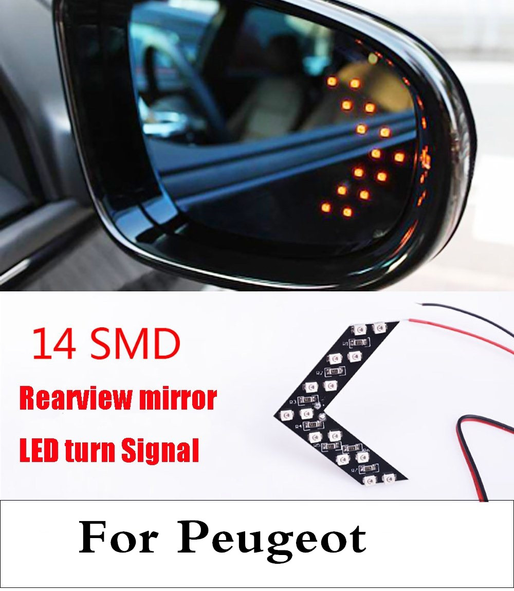 Car Styling 14SMD LED Arrow Panel Rear View Mirror Turn Light For Peugeot 1007 107 108 2008 206 207 208 208 GTi 301 307 3008 for peugeot 307 electric car side mirror view mirror outside mirrors manual folding with a decorative cover free shipping