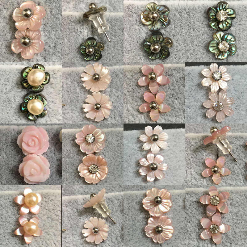 10 Pairs Wholesale Women Fashion Jewelry New Zealand Ablone Shell Pink Mother of pearl Shell Beads Stud Earrings WFH465 цена и фото