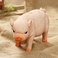 Resin Craft Cute Pig Piggy Box Home Decoration Accessories Money Saving Box Ornaments Pet Pig Piggy Box