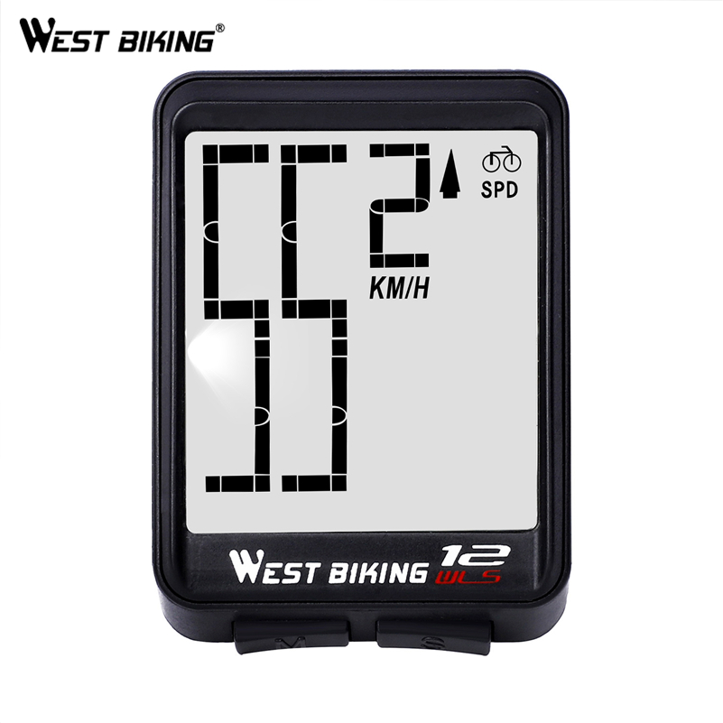 Image 2 - WEST BIKING Wireless Bicycle Computer Large Digital Bike Computer Odometer Speedometer Bike Thermometer Waterproof LCD Backlight-in Bicycle Computer from Sports & Entertainment