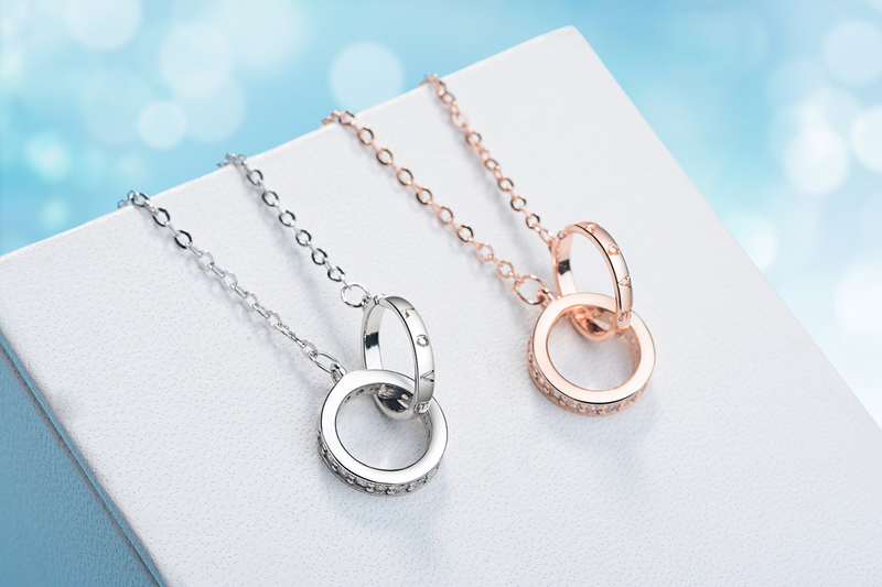Shiny Rhinestone Round Lady Rose Gold Pendant Necklace Jewelry Female Fashion 925 Sterling Silver Necklace For Women Accessories in Pendant Necklaces from Jewelry Accessories