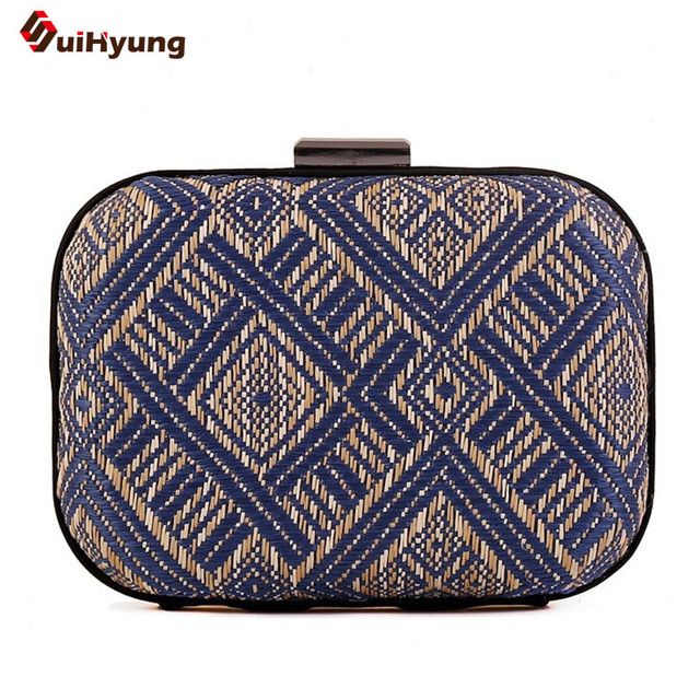 New Women Clutch Simple Retro Woven Geometric Pattern Evening Bag Banquet Dinner Party Handbag Purse Shoulder Messenger Bag