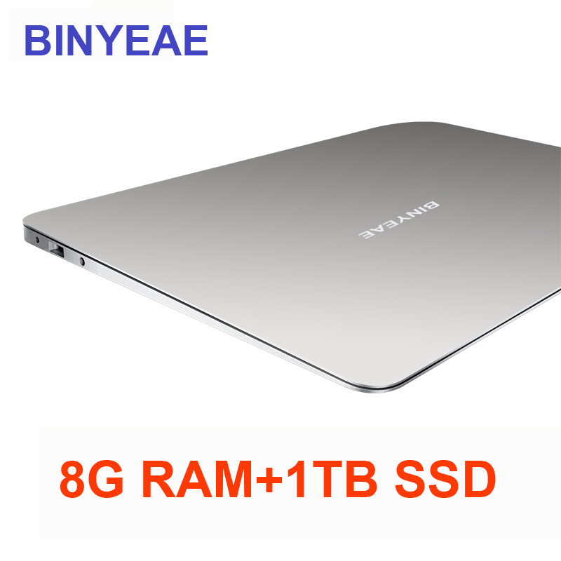 BINYEAE 15.6 inch Laptop With 8G RAM 1TB SSD Gaming Laptops Ultrabook intel j3455 Quad Core Notebook Computer 1920*1080P FHD