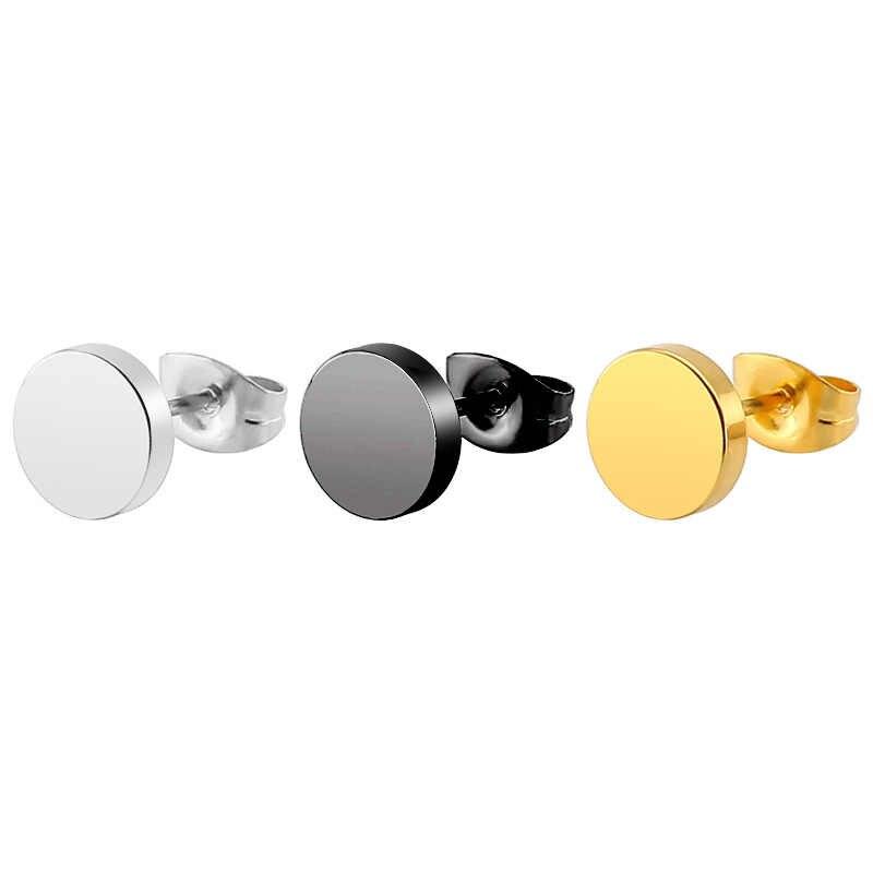 2018 1 ペアパン両面ラウンドチタン鋼イヤリング男性女性ブラックゴールド色偽の耳プラグゴシックバーベルスタッドイヤリング