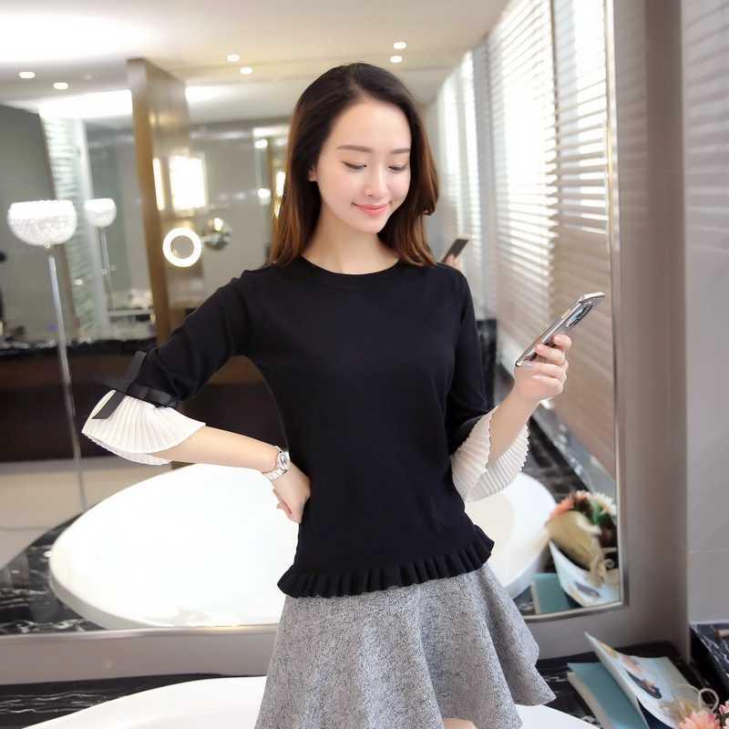 Новая мода весна-осень свитер для женщин шифон Flare рукавом пуловер с бантом тонкие свитера женские Высокое качество топы 2019