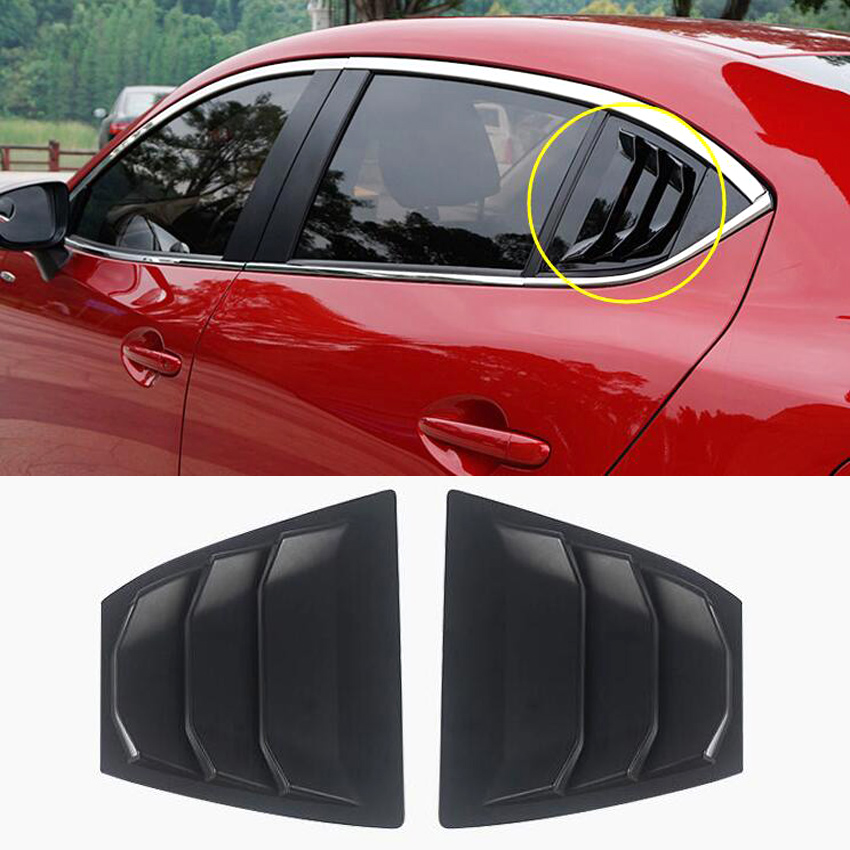 For <font><b>Mazda</b></font> <font><b>3</b></font> Axela 4Dr Sedan 2014 2015 2016 2017 <font><b>2018</b></font> Car Rear Window Side Louvers Vent Trim Car <font><b>Accessories</b></font> Matte Black ABS image