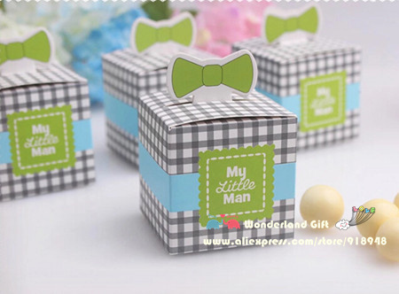 50pcs Lot Baby Tie Candy Boxesbabys 1st Birthdayshower Gifthappy