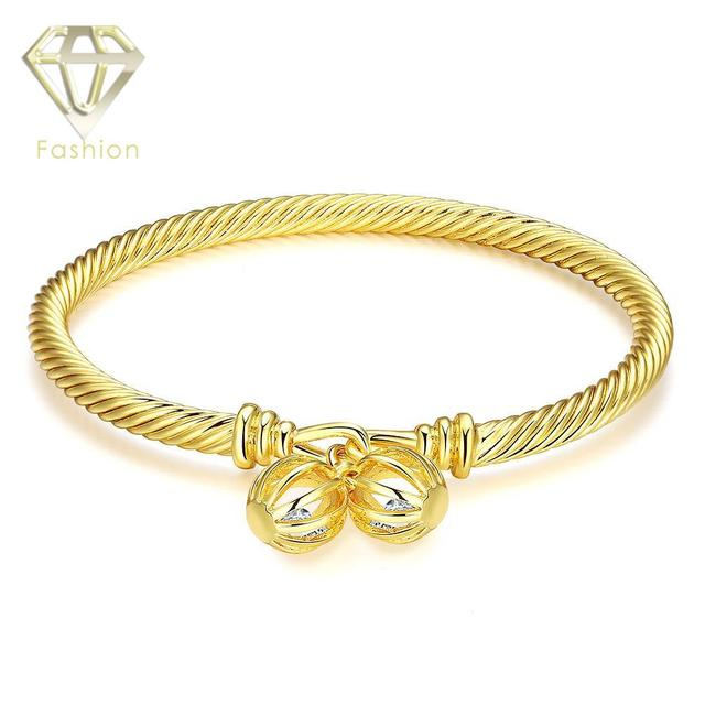 Designer Inspired Jewelry Top Brand Gold Color Bangle with Double