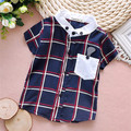 4pcs/Lot Free shipping Summer New baby boy plaid short-sleeved shirt,children fashion shirts#Z1160