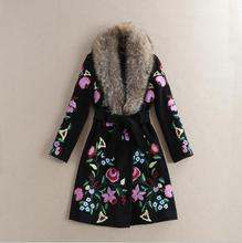 Europe and the United States girls's new autumn 2016 The runway seems lengthy sleeve collars embroidered fabric coat
