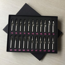 22PCS Stainless Steel Tattoo Tips Round Flat Magnum Diamond Tips For Liner & Shader With Gift Box Supply NSTK-B#