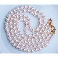 Eternal женские свадебные подарок Слово стерлингового серебра 925 Настоящее м счетчик с японской Akoya натуральный морской жемчуг двойной слой N