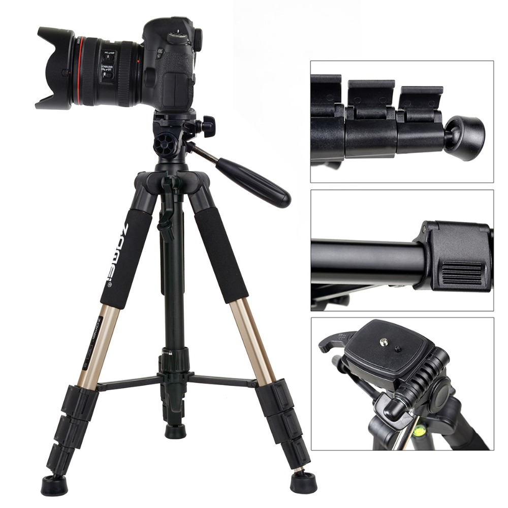 ZOMEI professional portable travel aluminum camera tripod Q111 and pan SLR camera digital camera tricolor