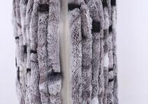 Натуральный вязаный шарф из кроличьего меха Рекс, женская зимняя теплая шаль из натурального меха,, KFP574 - Цвет: QZLgrey