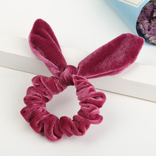 Women Girls Bunny Ears Scrunchie Hair Rope Velvet Tie Bows Elastic Ring Ponytail Holder Fashion Accessories