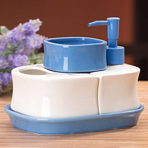 Ensemble de quatre pièces de salle de bain en céramique blanc personnalisé shukoubei porte-brosse à dents combinaison de couleur bonbon bleu orange maison