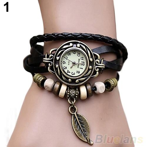 Women Retro Faux Leather Bracelet Tree Leaf Decoration Quartz Wrist Watch