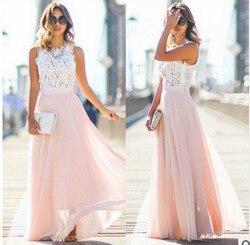 Koronkowa Sukienka szyfonowa Sukienka Party biuro Sukienka Maxi bez rękawów szata Longue Femme różowy żółty niebieski Vestidos Mujer kobiety ubrania 2