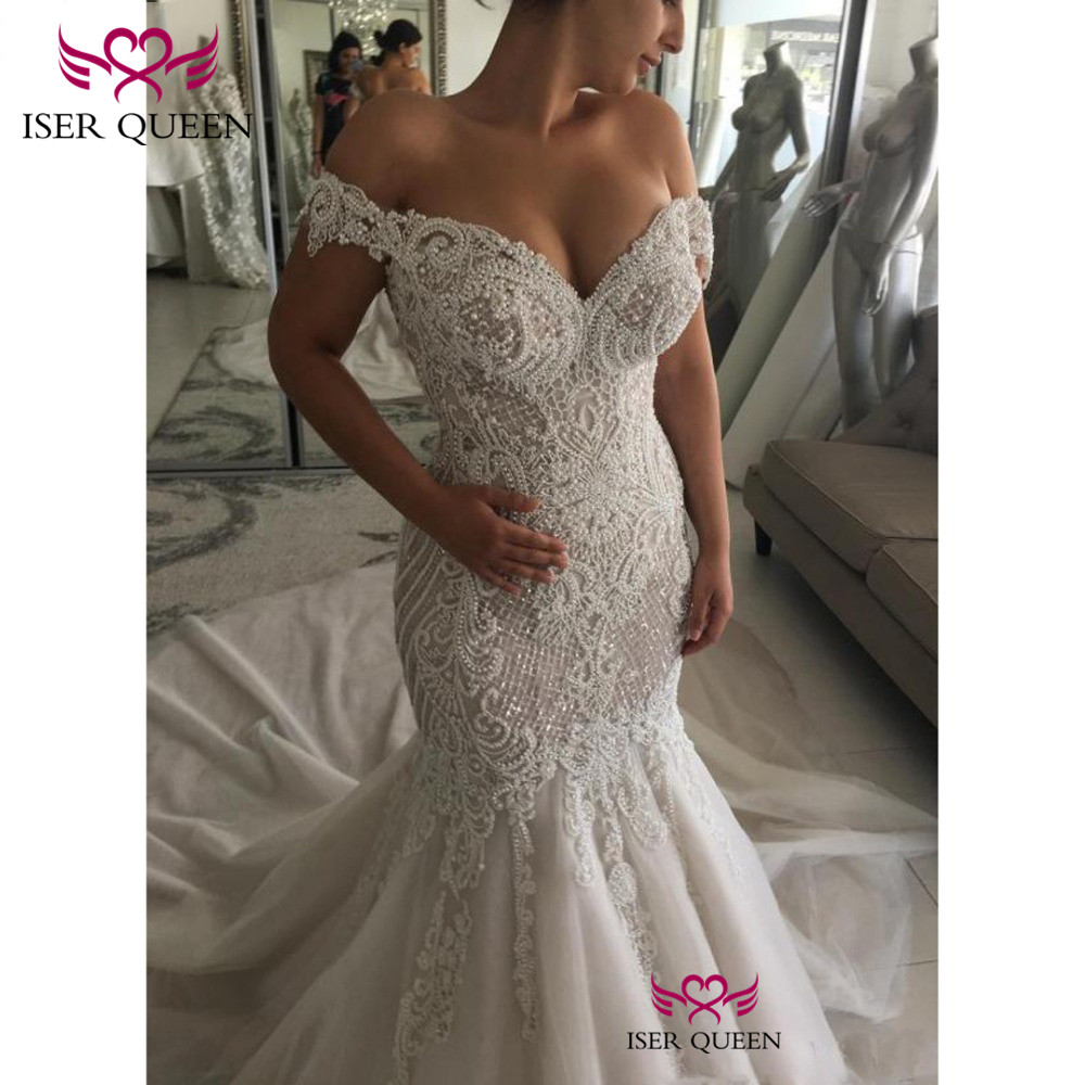 Cap Sleeves Pearls Bright Sequined Embroidery Lace Back Design of Button Bridal Gown 2019 Sexy Mermaid Prom Dresses w0562-in Wedding Dresses from Weddings & Events